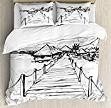 Ambesonne Hawaiian Duvet Cover Set Queen Size, Sketch Style Hawaii Dock Tiki Huts Bungalows Tropical Trees Beachy Boho Design, Decorative 3 Piece Bedding Set with 2 Pillow Shams, Black White