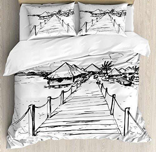 Hawaiian Duvet Cover Set Queen Size by Ambesonne, Sketch Style Hawaii Dock Tiki Huts Bungalows Tropical Trees Beachy Boho Design, Decorative 3 Piece Bedding Set with 2 Pillow Shams, Black - Hawaii Huts