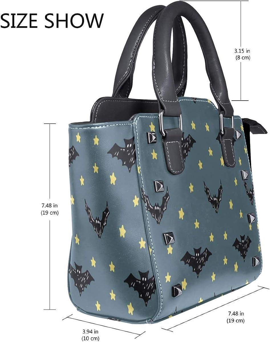 New Fashion Tote Bag Halloween Doodle Starry Custom Handle Purses Pu Leather Rivet Portable Fashion Printing Waterproof With Zipper Clutch Bag Crossbody