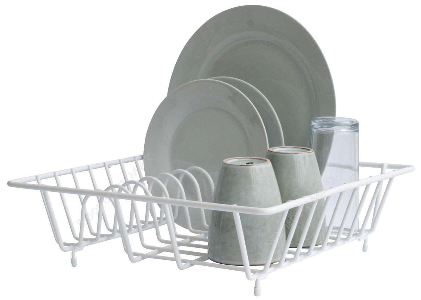 Bloomsbury Mill - Compact Dish Drainer - Plate Drying Rack - Anti-Rust - White