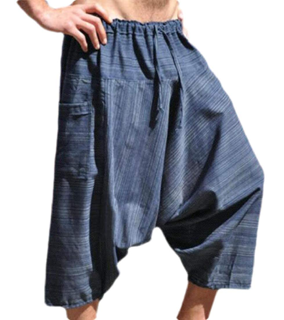 Jmwss QD Mens Casual Elastic Waist Capri Wide Leg Harem Pants