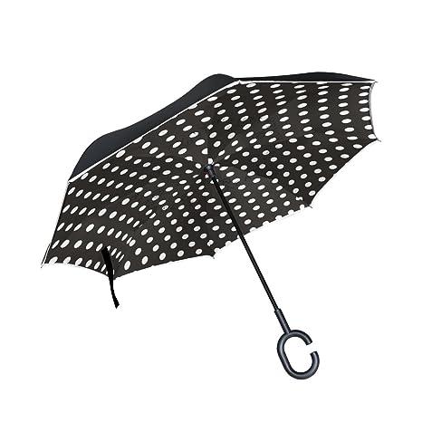 COOSUN Lunares blancos sobre fondo Negro de la capa doble del paraguas invertido inversa para el
