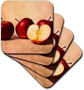 3dRose Three And A Half Red Apples In A Row (Set Of 8) Soft Coasters