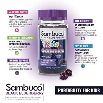 Amazon com: Sambucol Black Elderberry Kids Gummies, 30 Count