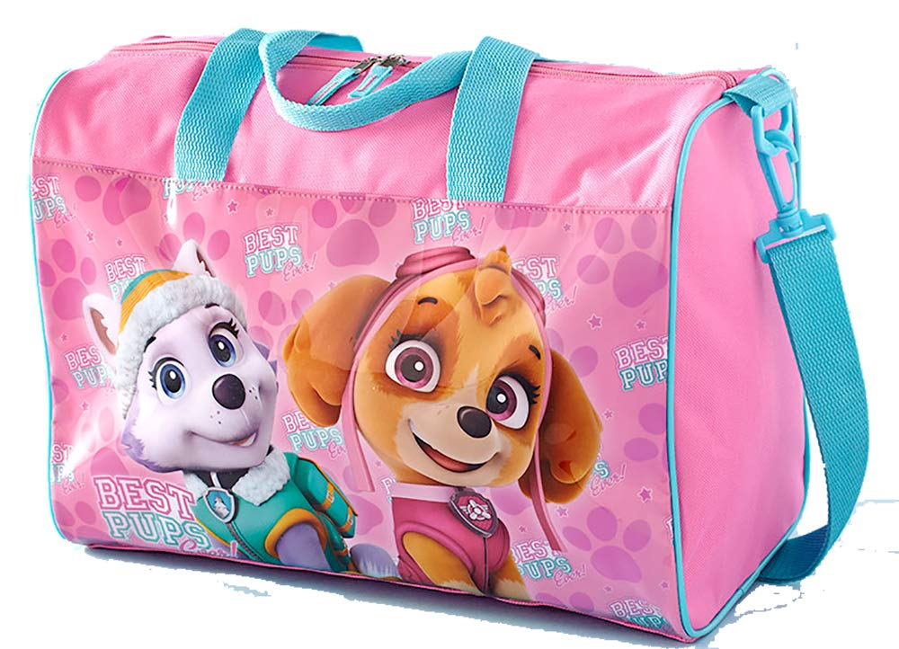 Measures 14-3//4W x 7-1//4D x 10-1//2H Bright Colorful Nickelodeon Paw Patrol Pink Girls Overnight Bag