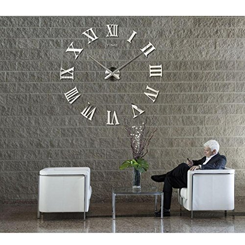 Ufine 3D DIY Wall Clock Roman Numerals Stickers Acrylic Mirror Sticker Home - Numeral Roman Clock Silver