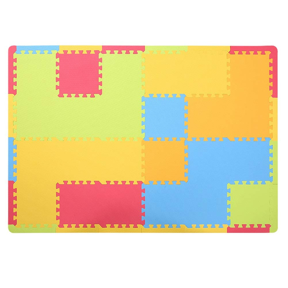 RMJAI Multicolor Foam Playmats Play Mats With Edges EVA Foam Interlocking Tiles 1cm Thick Kids Jigsaw Puzzle Blocking Board (Total 1.7m2)