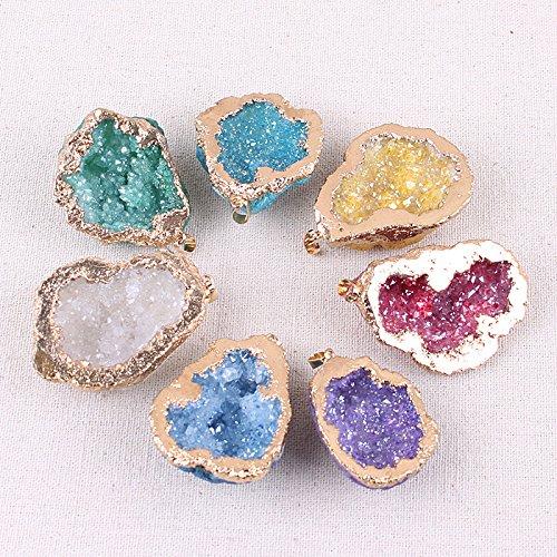 7pcs Natural Agate Quartz Geode Druzy Pendant Necklaces for Women,Healing ()