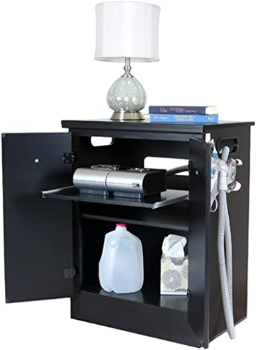 Solid Black CPAP Nightstand - a good cheap modern nightstand