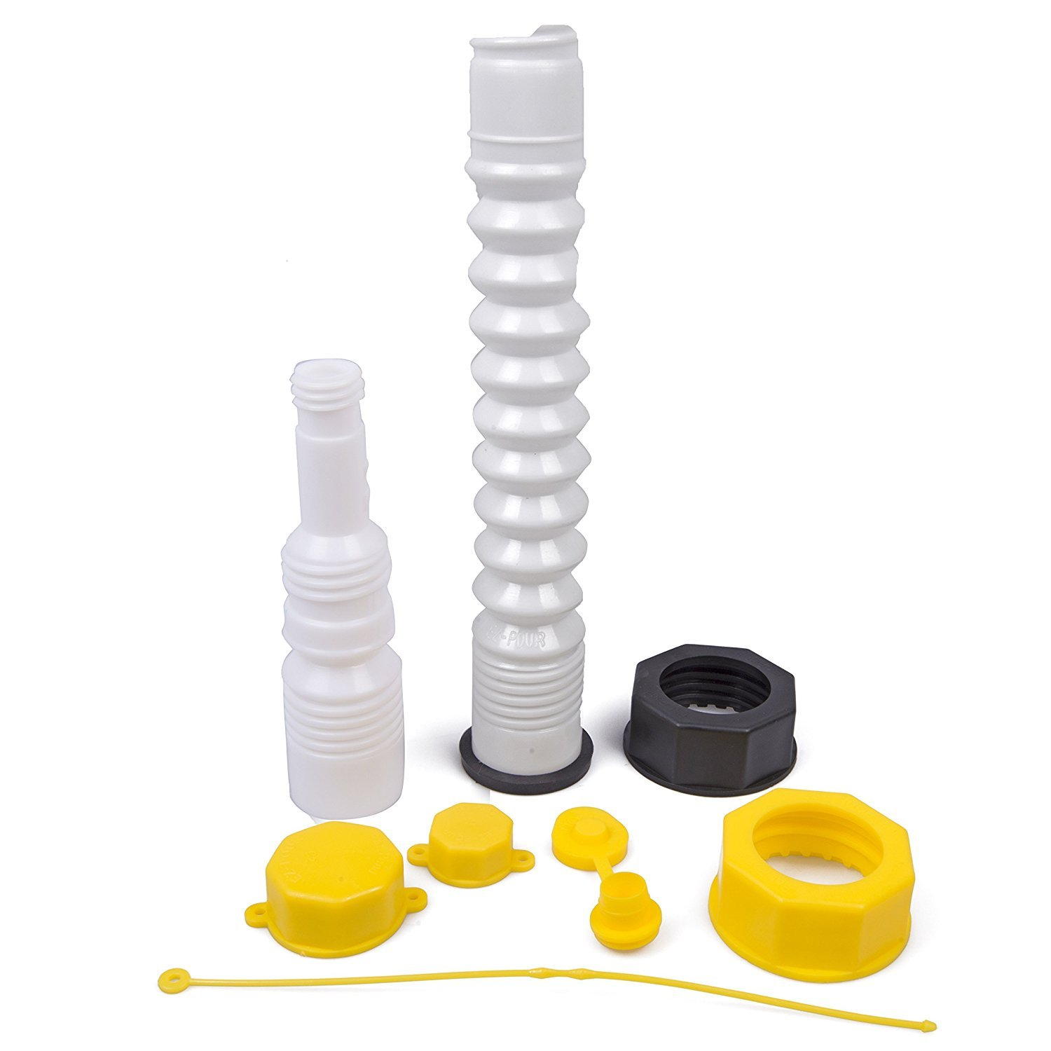 EZ-Pour Gas Can Replacement Spout Kit - Update Your Old Can Or Water Jug - 2 Spouts, 7 Piece Kit
