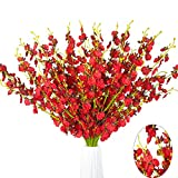 MISSWARM 10 Pieces 37.7' of Dancing Lady Orchid Illusion,Wedding Home Party Decor Butterfly Artificial Flower,Flower Arrangement(Red)