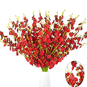 "MISSWARM 10 Pieces 37.7"" of Dancing Lady Orchid Illusion,Wedding Home Party Decor Butterfly Artificial Flower,Flower Arrangement(Red) 33"