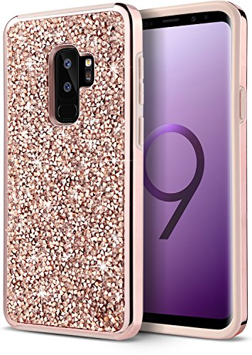 Dairnim Galaxy S9 Plus Case Luxury S9 Plus Case Bling Sparkly Rhinestone Crystal Hard PC and Soft TPU Inner Shockproof Chrome Bumper Protective Case Compatible with Samsung Galaxy S9 Plus, Gold Diamond Chrome Hard Case
