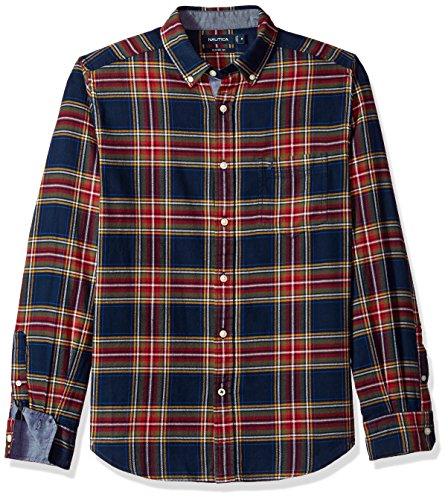 Nautica Men's Long Sleeve Plaid Cozy Flannel Button Down Shirt, Maritime Navy, XX-Large