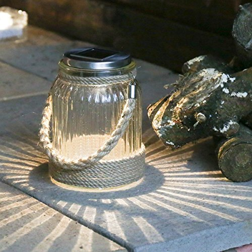 Cornish Solar Jar Laterne, Glas Design, mit Seil, warmweißes LED
