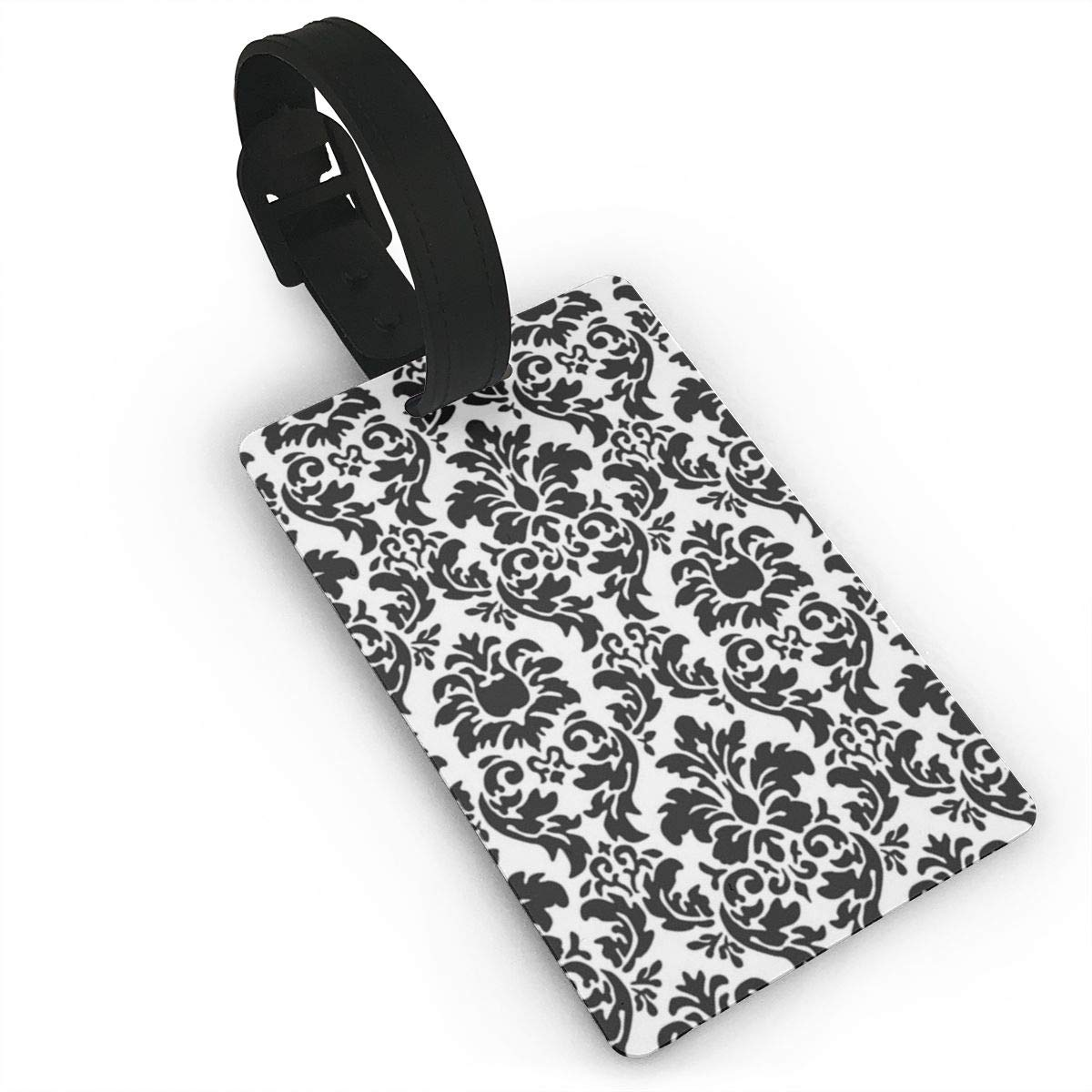 Rectangle Black And White Damask Luggage Tags Bag Travel Labels For Baggage Suitcase