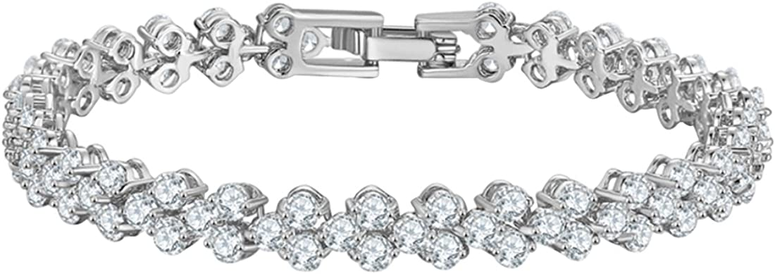 joyliveCY Crystal Diamond Bracelets, Valentines Chain Bracelet Lovers Regalos