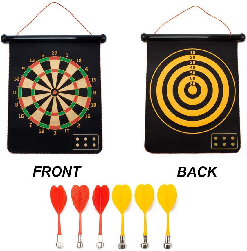 GSE Games & Sports Expert 2-in-1 Magnetic Dart Board Game Set with 6 Safety Darts for Kids & Adults (Two Styles Available)