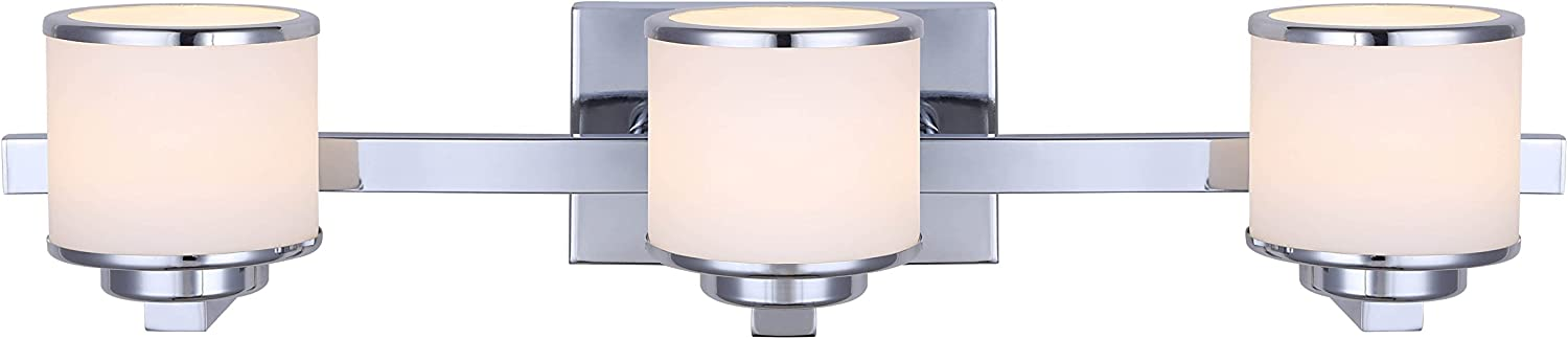 CANARM LVL106A03CH Foster Integrated LED 3 Light Vanity with Flat Opal Glass, Chrome