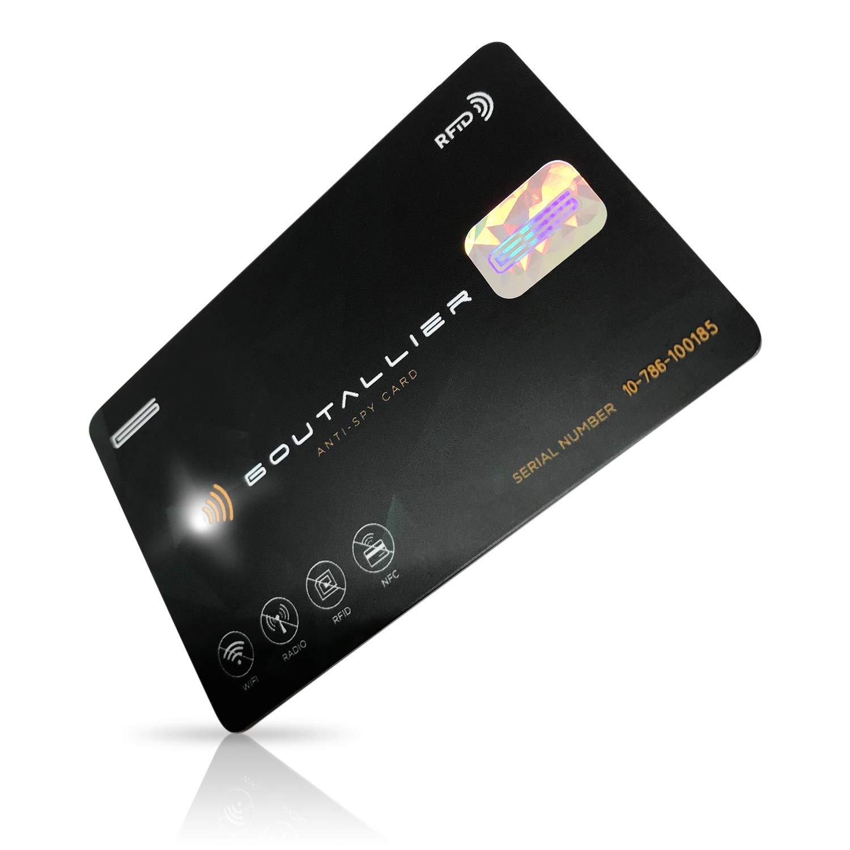 RFID Blocker NFC Schutzkarte GOUTALLIER ® Anti-SPY-Card - jetzt mit WARNLICHT + integriertem Mikroprozessor und Störsender - Eine Karte schützt die gesamte Geldbörse vor Datendiebstahl und Auslesen
