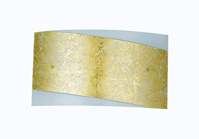 Fan europe paris oro bianco applique rettangolare con fascia e