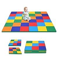 Costzon Toddler Foam Play Mat, Foldable Patchwork Baby Foam Floor Mats, 58-Inch Square Soft Floor Mat for Baby, Thick Foam Mat for Home, School, Kindergarten or Nursery (Assorted)