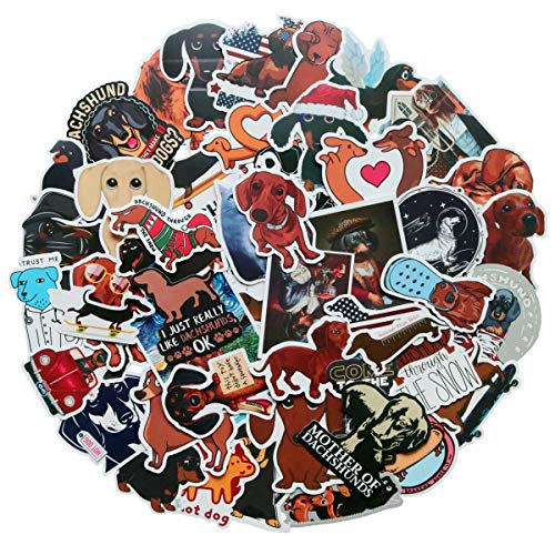 🥇 50 pcs Waterproof Vinyl Cute Animal Dachshund Stickers for Personalize Laptop