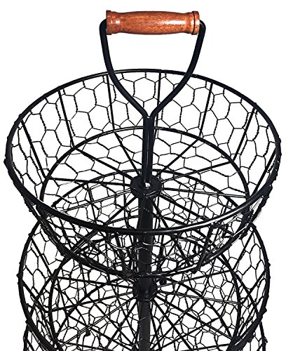 Handcrafted Rustic Wrought Iron 3-Tier Chicken Wire Countertop Basket for Fruit, Vegetables or Cosmetics by Basket Stand (Image #1)
