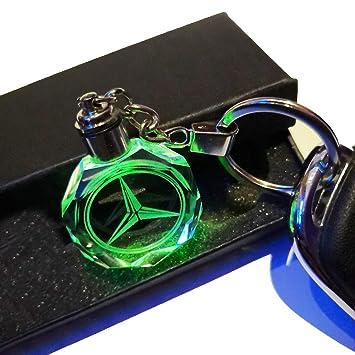 VILLSION 7 Colores Cambiantes Logo Coche Mercedes Benz Llavero con luz LED Llave Accesorios
