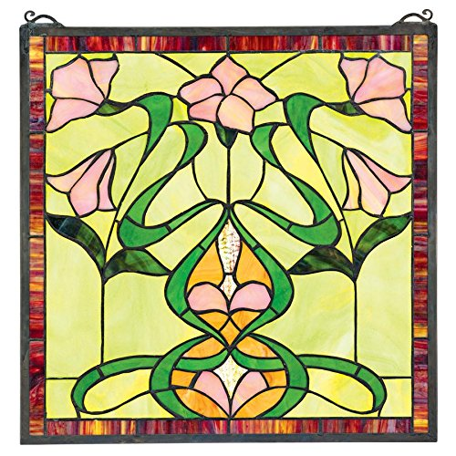 Stained Glass Panel - Nouveau Lily Stained Glass Window Hangings - Window Treatments (Lily Window Panel)