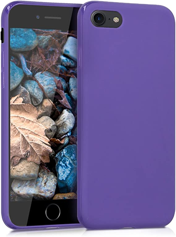 Image ofkwmobile Funda Compatible con Apple iPhone 7/8 / SE (2020) - Carcasa de TPU Silicona - Protector Trasero en Violeta Mate