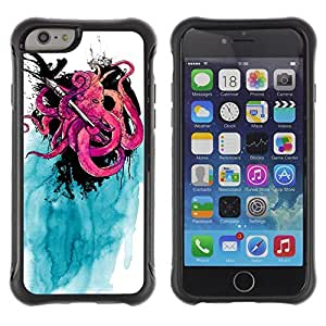 Hybrid Anti-Shock Defend Case for Apple iPhone 6 4.7 Inch / Cool Octopus & Ink painting wangjiang maoyi