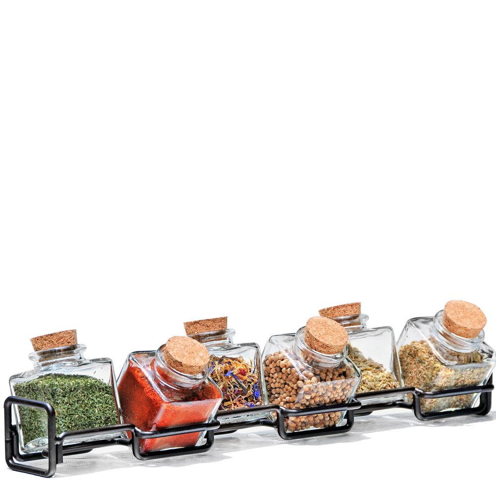 Couronne Company M224-6156G48 Horizontal Metal Spice Rack with Square Jars, 3 1/2'', Dark Amber, 1 Piece by Couronne Company (Image #3)