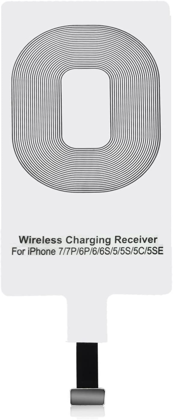 EtoBesy Qi Wireless Charger Receiver, Ultra Thin Charging Adapter Receptor Receiver Mini Slim Patch Module Chip for iPhone 7 7Plus, iPhone 6 6S Plus, iPhone 5 5s 5c SE (1 Pack)