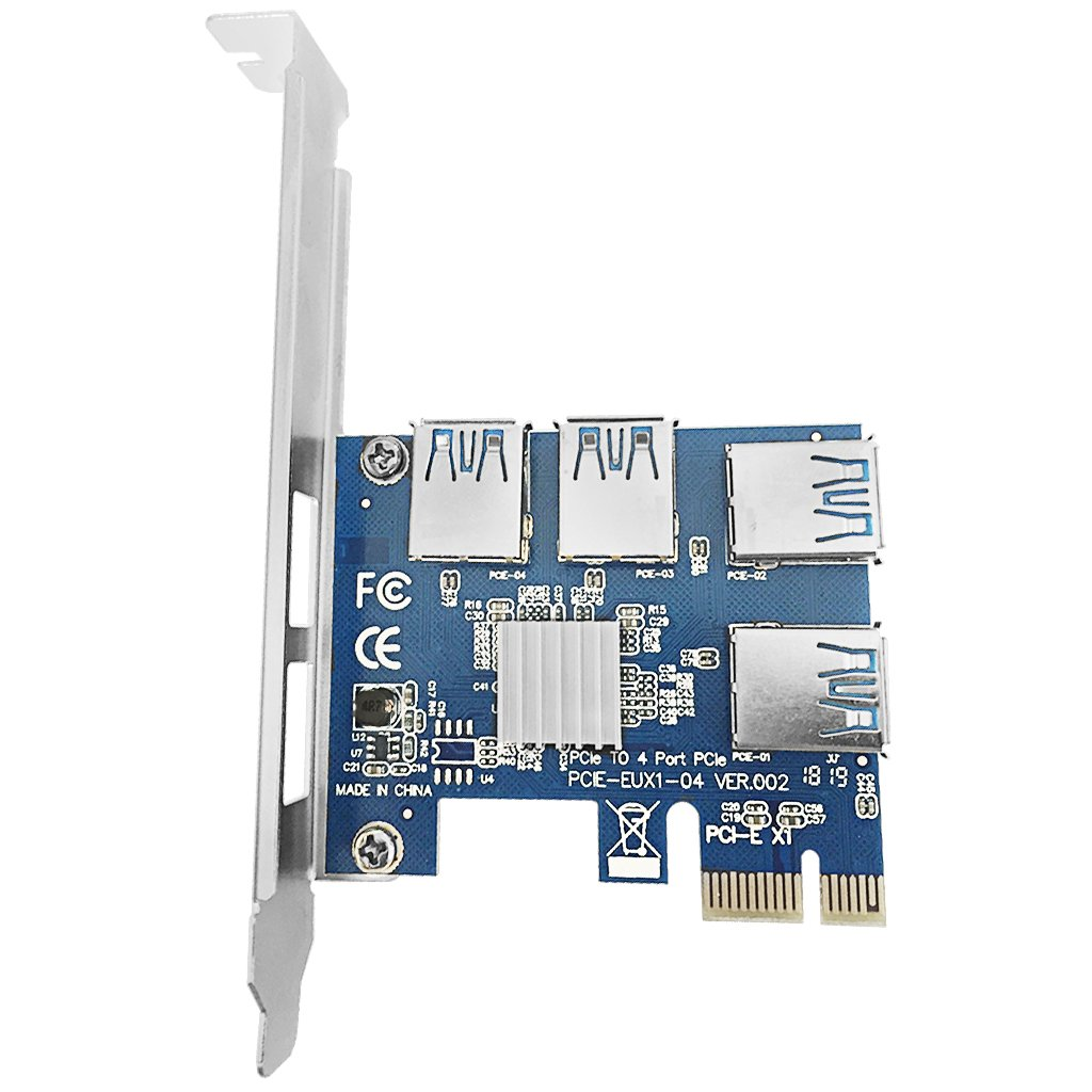 9daysminer PCI-E to 4 Port USB3.0 Expansion Card Adapter X1 Riser Miner Card PCI Express Extender Adapter Board for Ethereum (ETH) Mining