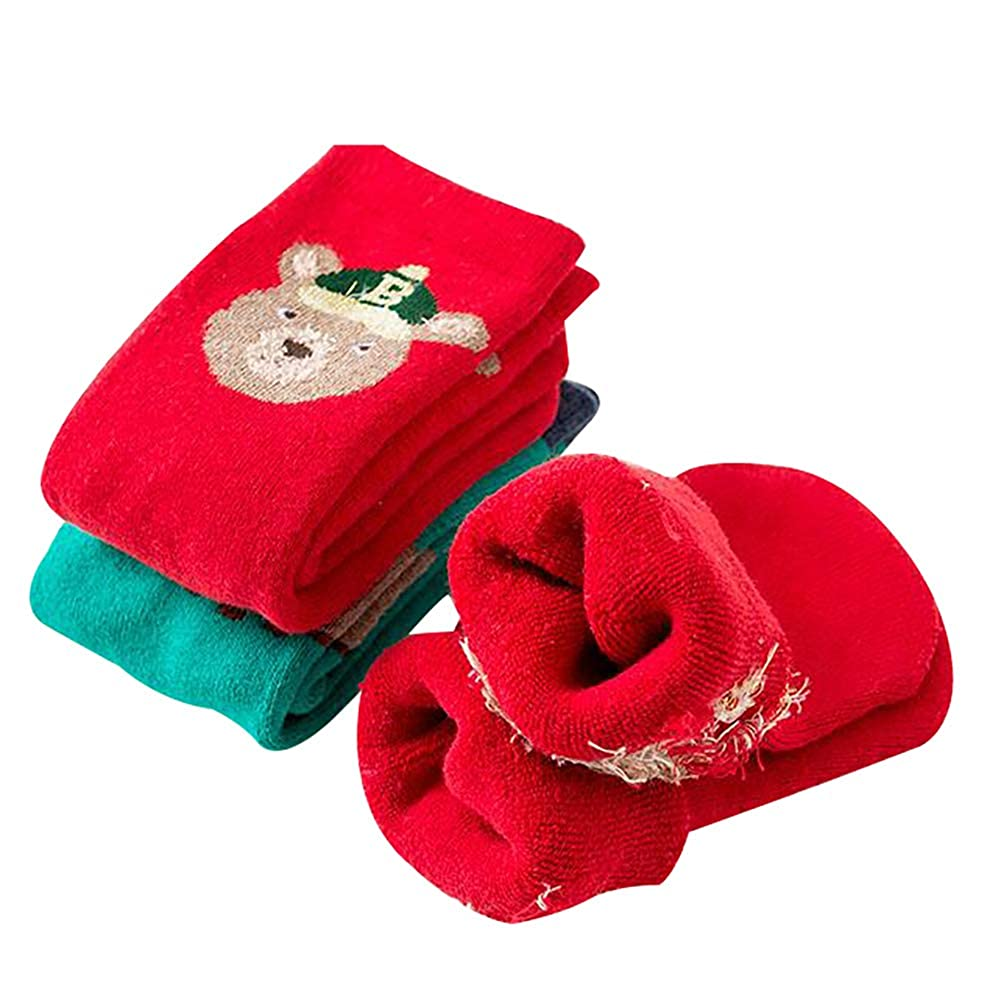 Kids Boys Girls Xmas Anti-slip Premium Socks Cute Christmas Gift Slipper Thicken Warm Winter Non Skid