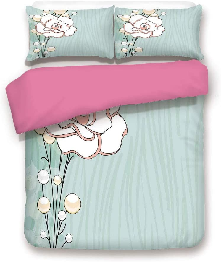 Twin Size Pink Back Duvet Cover Set,Romantic Rose Sign of Eternal Love with Pearls The Purity Icon Print Decorative 3 Piece Bed Sets,1 Comforter Cover with 2 Pillow Shams,Baby Blue White and Pink
