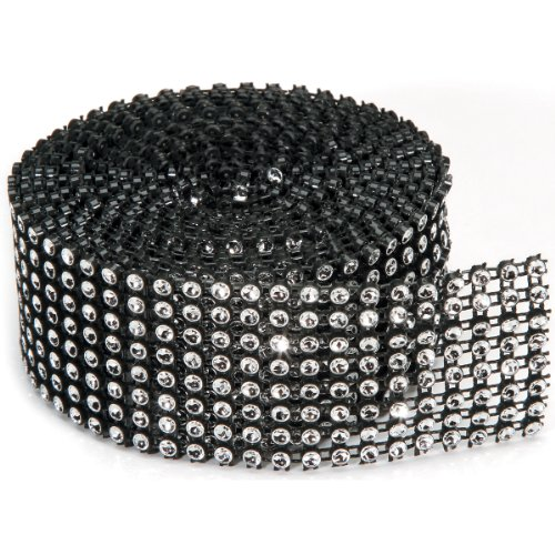 Darice Silver Ribbon - Darice 8-Rows Bling on a Roll,1.37inch x 2 YD(3.49 cm x 1.83 m), Black/Silver