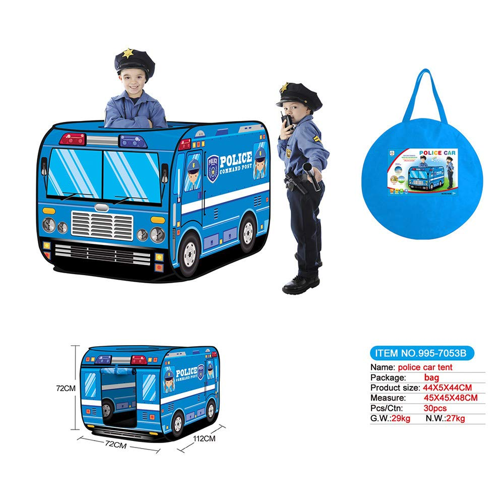 FarJing Children's Police Car Tent Play with A Police Car Design Tent Happy Time to Play House Children Play Tent