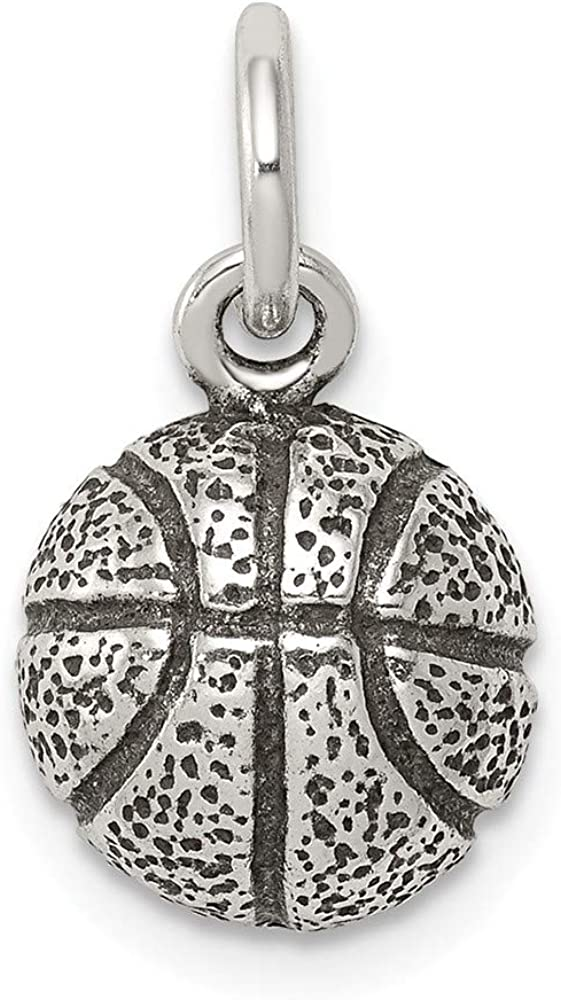 10mm x 20mm Jewel Tie 925 Sterling Silver Antiqued-Style Basketball Pendant Charm