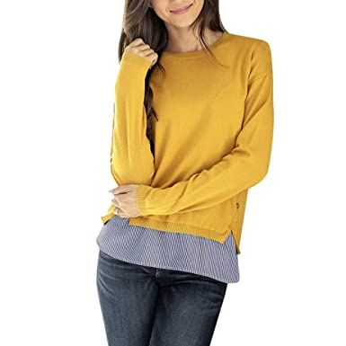 Yvelands Mujer Casual Patchwork Stripe Button O Cuello Blusa de Manga Larga Tops Camiseta(Yellow