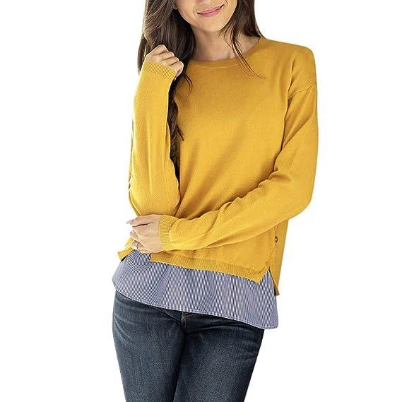 Yvelands Mujer Casual Patchwork Stripe Button O Cuello Blusa de Manga Larga Tops Camiseta(Yellow
