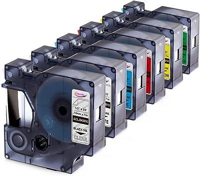 6PK 12mm Black on White 45013 Tape For Dymo D1 Label Maker LabelManager 260P 280