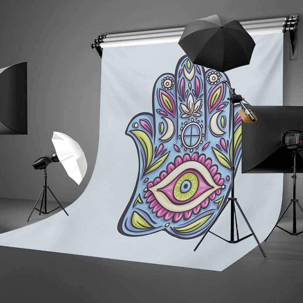8x10 FT Photography Backdrop Doodle Hamsa Hand Symbol Traditional All Seeing Eye Positive Colorful Background for Kid Baby Boy Girl Artistic Portrait Photo Shoot Studio Props Video Drape Vinyl