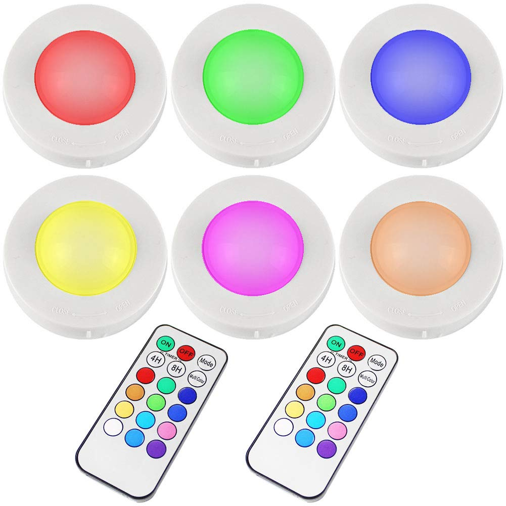 Lvyinyin Wireless LED Puck Lights with Remote Control, Battery Powered LED Under Cabinet Lighting, Closet Light, Counter Lighting, Stick On Lights, 6 Pucks 2 Remotes, RGB 13 Colors Changeable