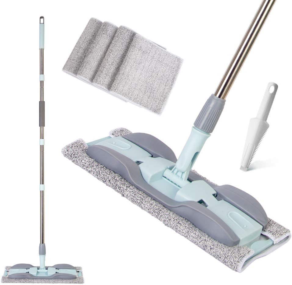 Mop 15 In Microfiber Hardwood Floor Mop 4 Washable Mop Pads Flat Mops for Wet or Dry Laminate Tile Floor Cleaning Dust Wet Mop With Durable Extended Handle