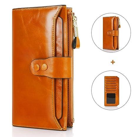 c897eaa788 Portafoglio Donna, Portafoglio In Pelle con Protezione RFID, Porta Carte di  Credito con Portamonete