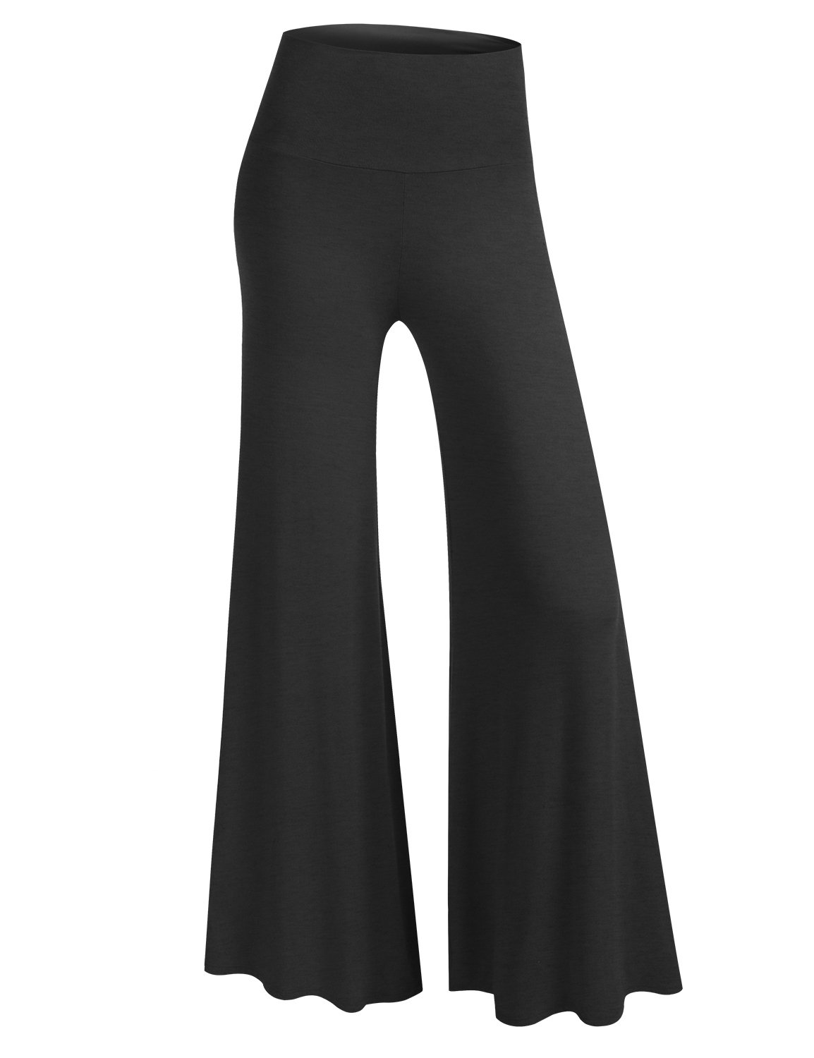 BIADANI Women Classic Soft Chic Wide Leg Foldover Band Palazzo Pants Charcoal 1X-Large
