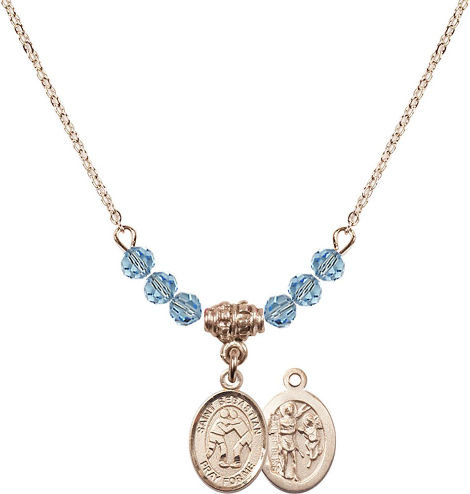 18-Inch Hamilton Gold Plated Necklace with 4mm Aqua Birthstone Beads and Gold Filled Saint Sebastian/Wrestling Charm.