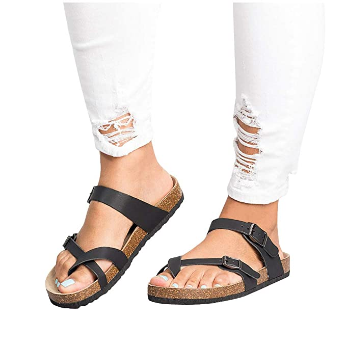 3a98aa426 Women s Thong Flat Sandals Cross Strap Adjustable Double Buckle Cork Summer  Footbed